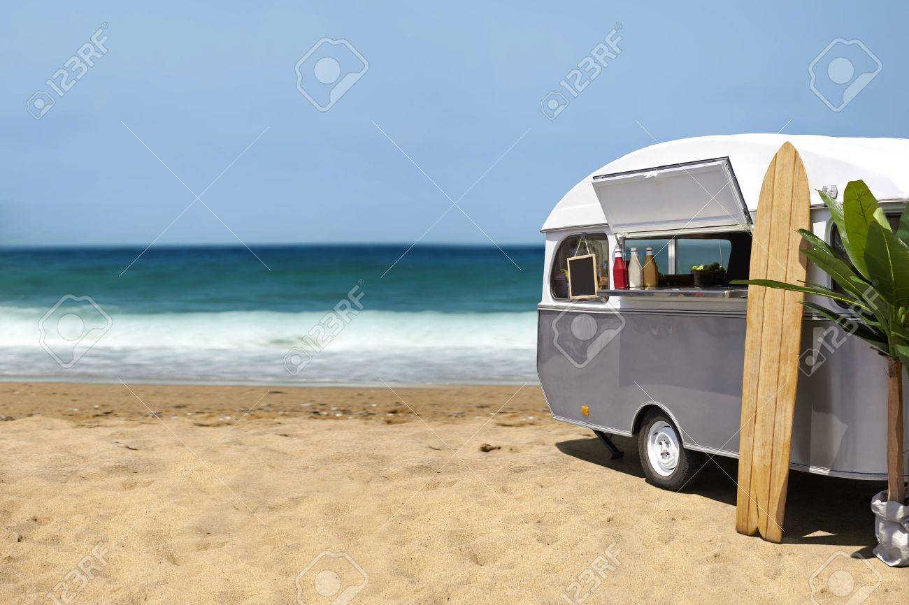 25 of the best food truck designs design galleries paste - Food Truck Surfing Slow Food Caravan On The Beach Template With Copy Space