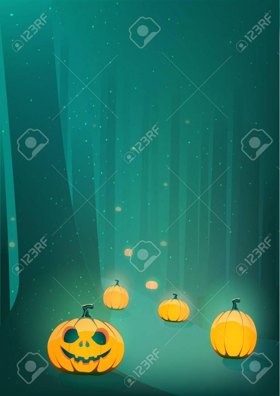 Halloween Scary Pumpkin Jack-o-lantern Path In Moon Light In ...