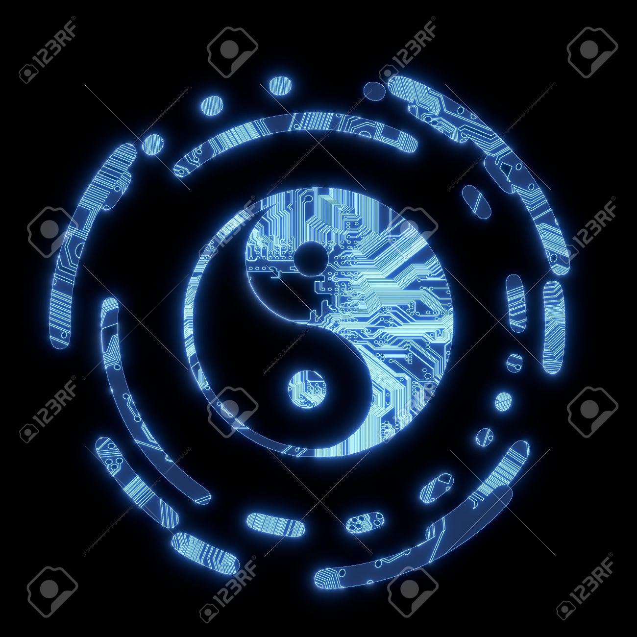 Electric Ying Yang Computer Symbol Stock Photo Picture And Royalty