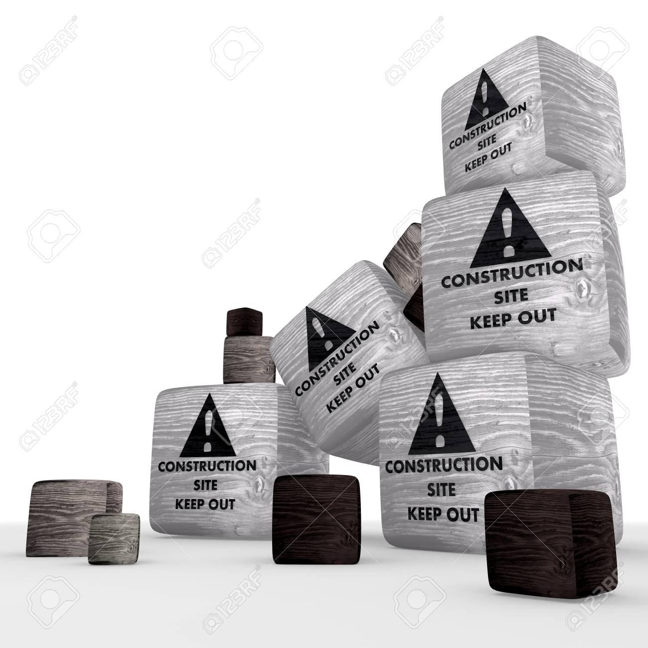 construction site wooden symbol cubes Stock Photo - 17578909