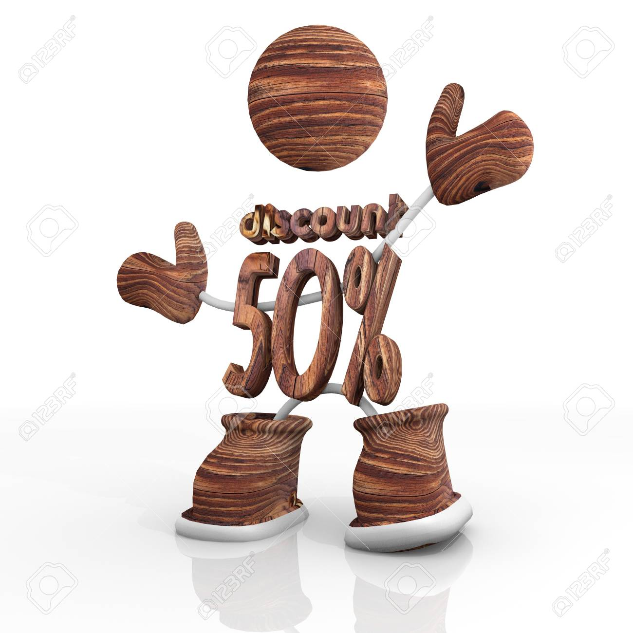 cute 3d character with  wooden -50  rabat icon Illustration Stock Illustration - 17936349