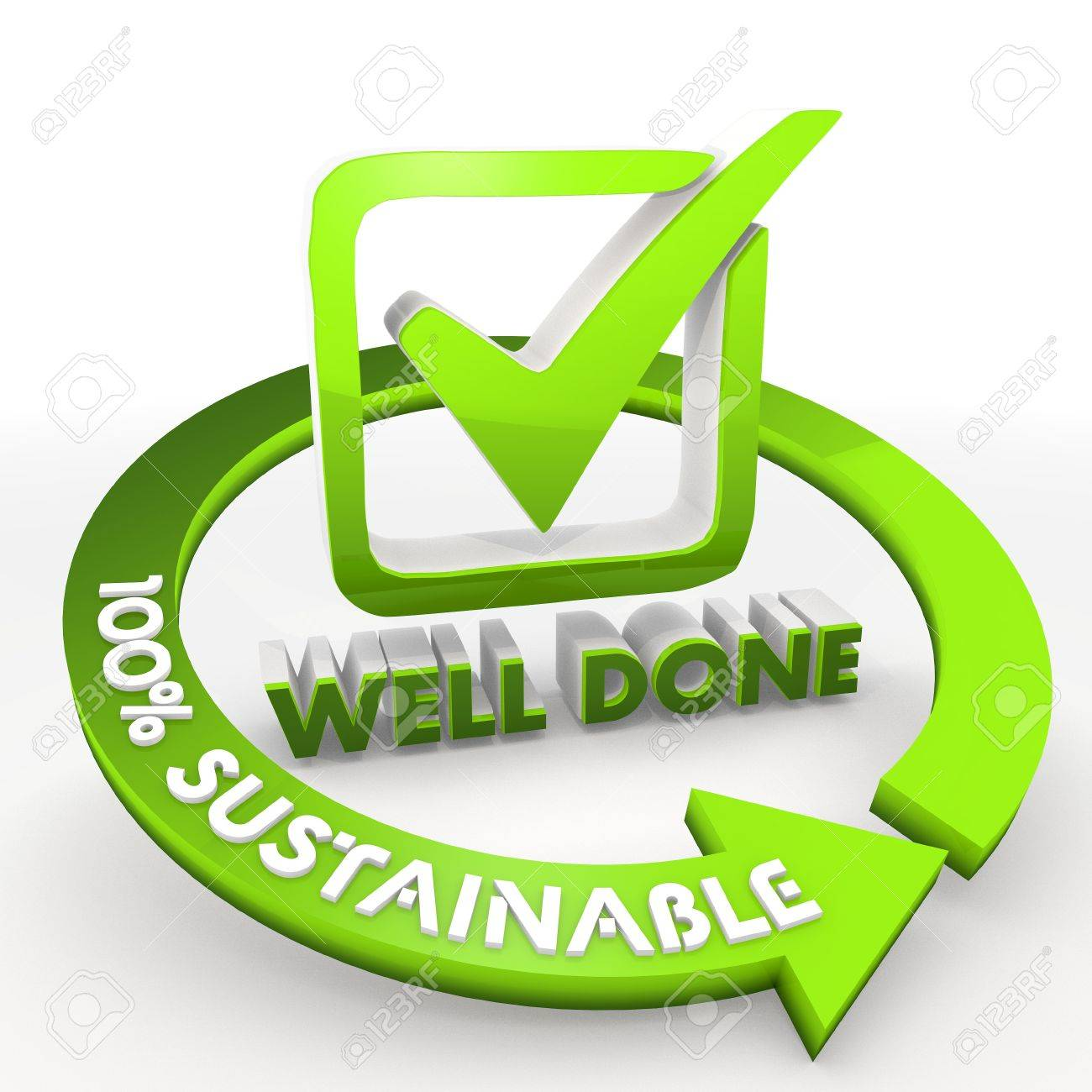 3D graphic Bright green 100 percentage sustainable ecological well done Illustration Stock Photo - 18415106