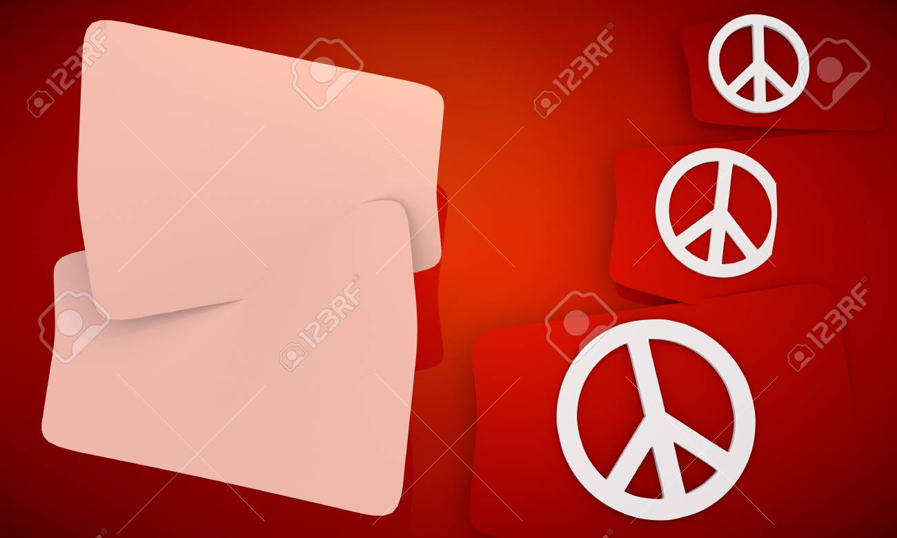 3D graphic red background with three cute Peace  icons and two white areas for own content Stock Photo - 18695116