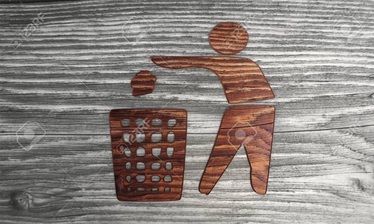 3D Graphic Biological Delete Symbol In A Wooden Textured ...