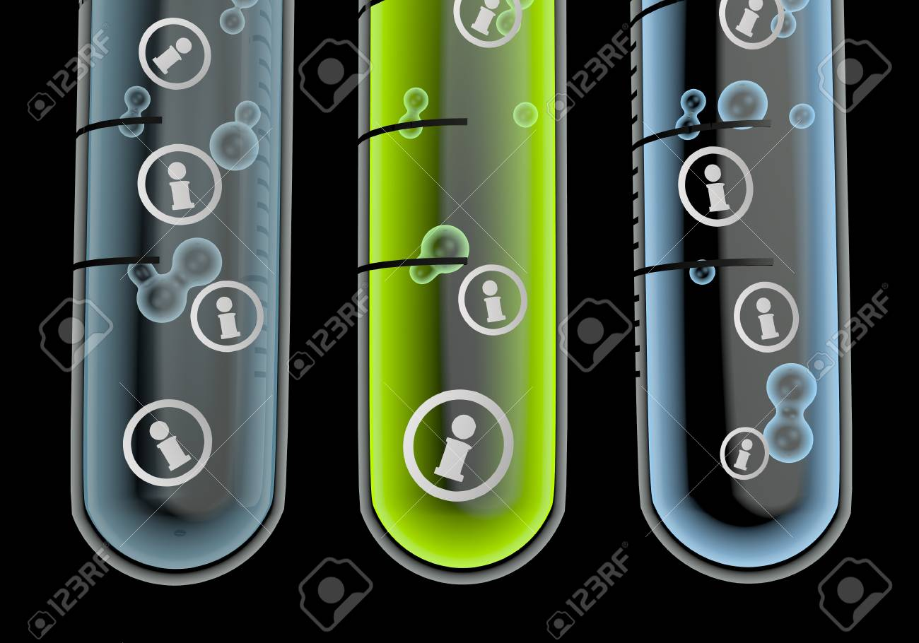 Black  isolated laboratory 3d graphic with isolated information symbol  in three test glasses Stock Photo - 19176161