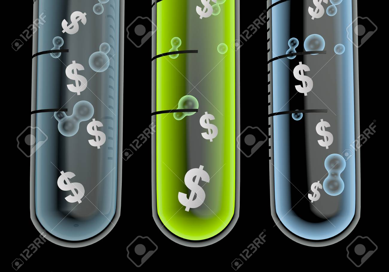 Black  financial laboratory 3d graphic with scientific Dollar icon  in three test glasses Stock Photo - 19176137