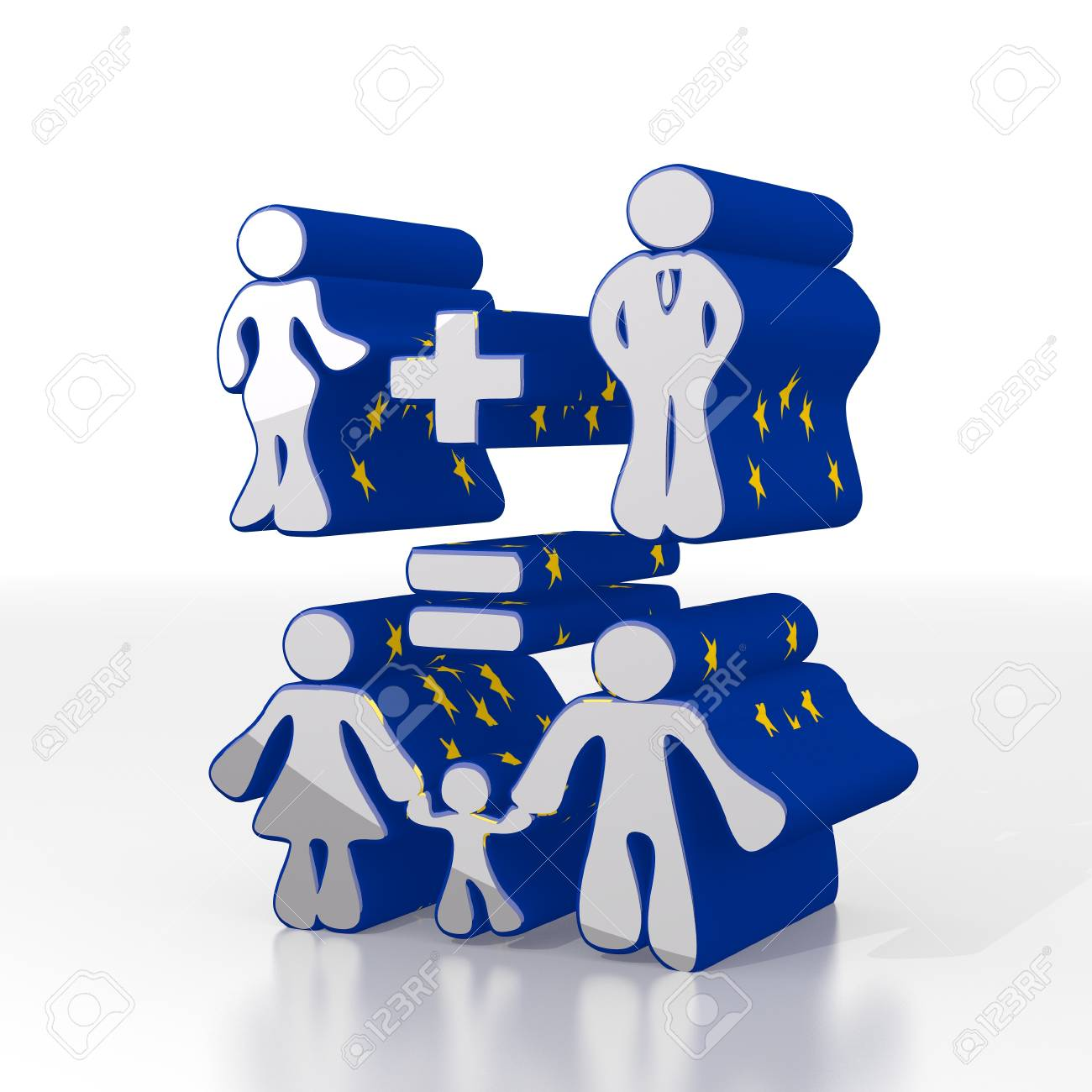 Silver European Calculation 3d Graphic With Symbolic Family Stock