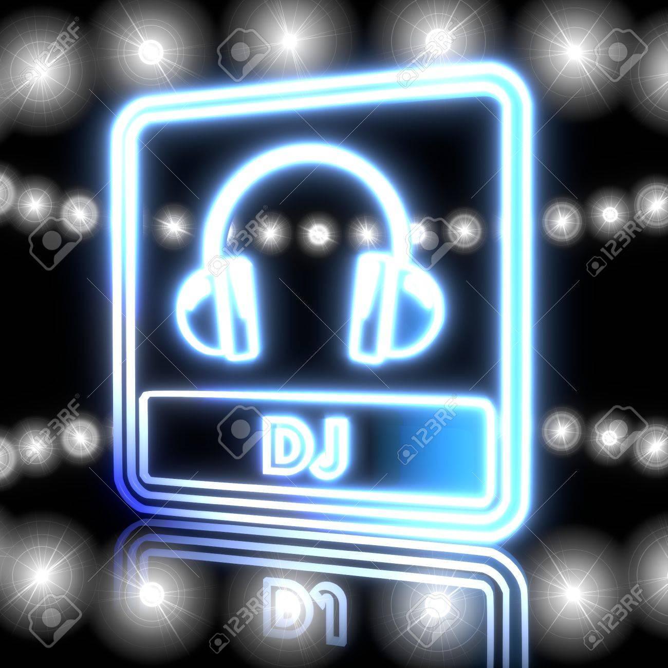 Cool Black Neon Headphones 3d Graphic With Magic Dj Symbol Shining Effect Lights Stock Photo