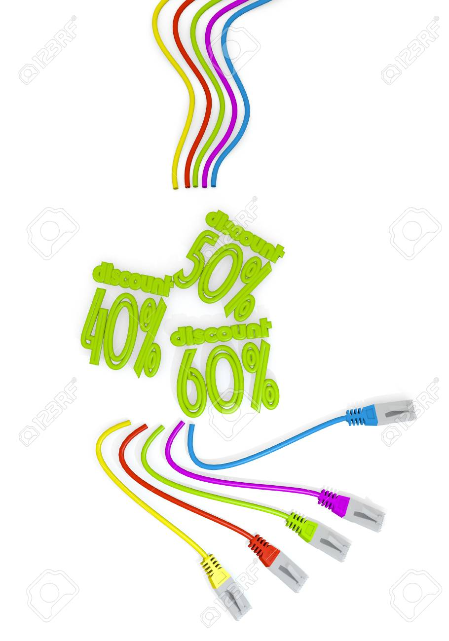 3d graphic with isolated discounts symbol with colourful network.. on
