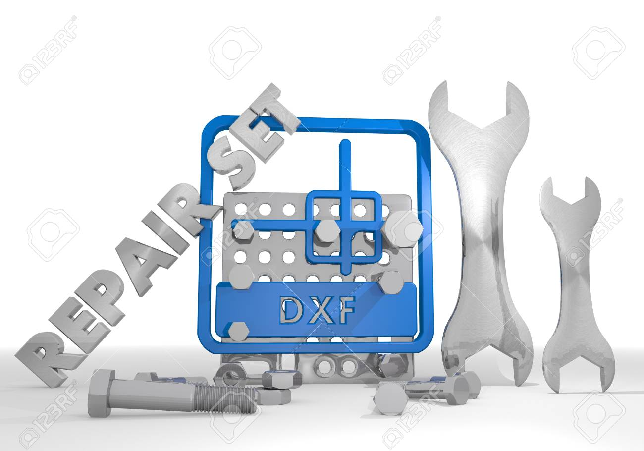3d graphic with mechanical dxf file icon repair set
