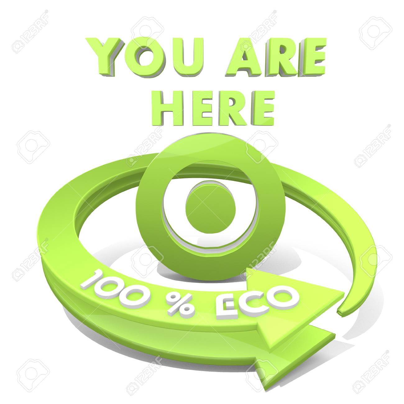 3d Graphic With Sustainable You Are Here Symbol And 100 Percent
