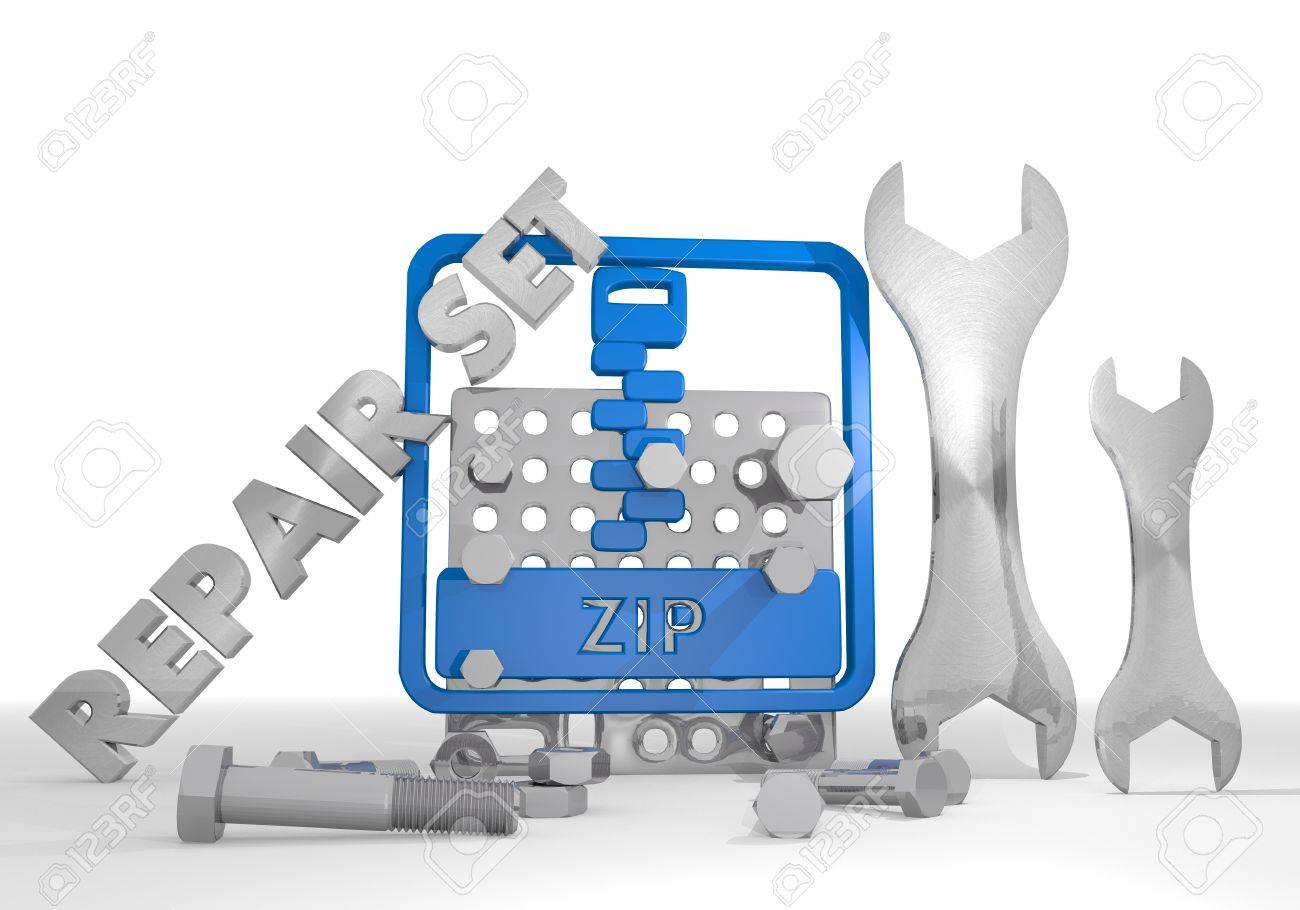 Medium blue packed set 3d graphic with packed zip file sign