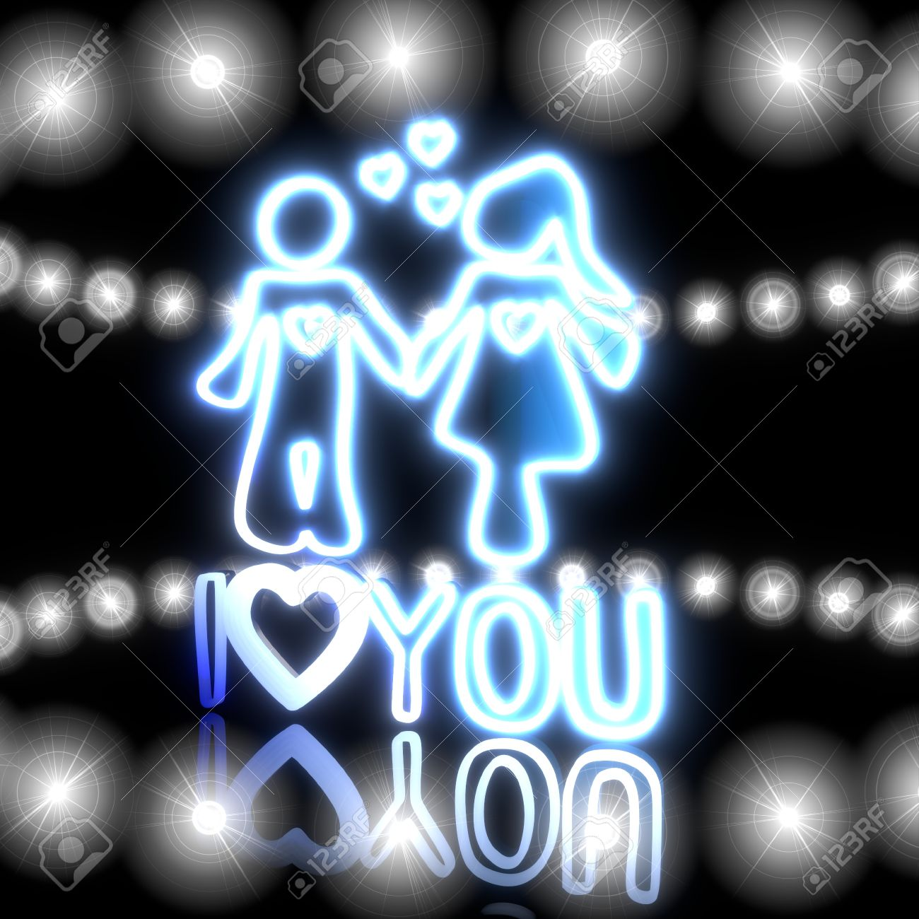 Cool Black Neon Design 3d Graphic With Magic I Love You Symbol Shining Effect Lights