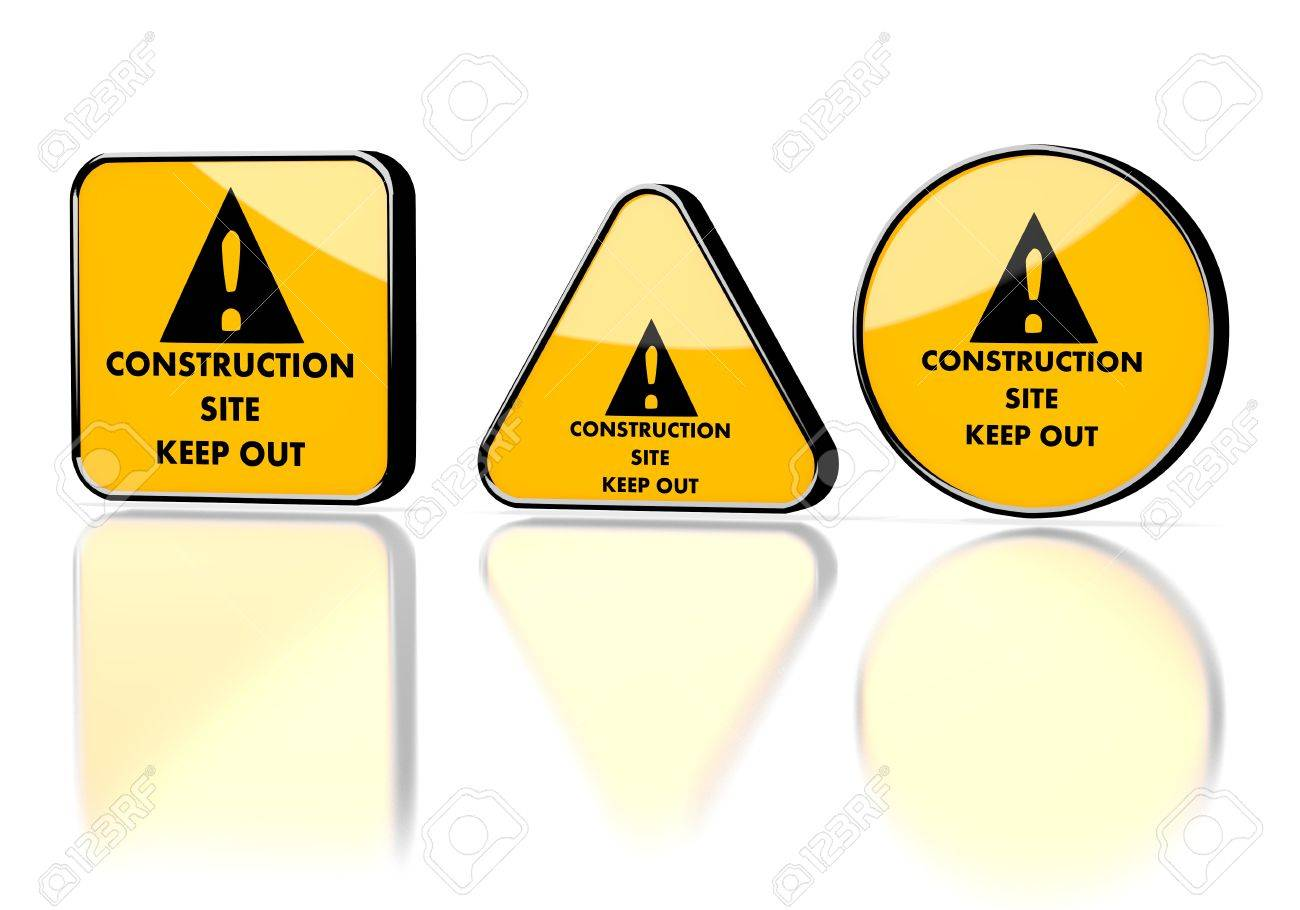 Dark orange  dangerous builder 3d graphic with keep out construction site symbol on three warning signs Stock Photo - 22589267