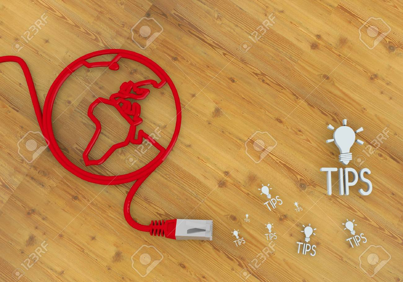 Red  wooden connection 3d graphic with wooden tip icon on network to home office desk Stock Photo - 22590000
