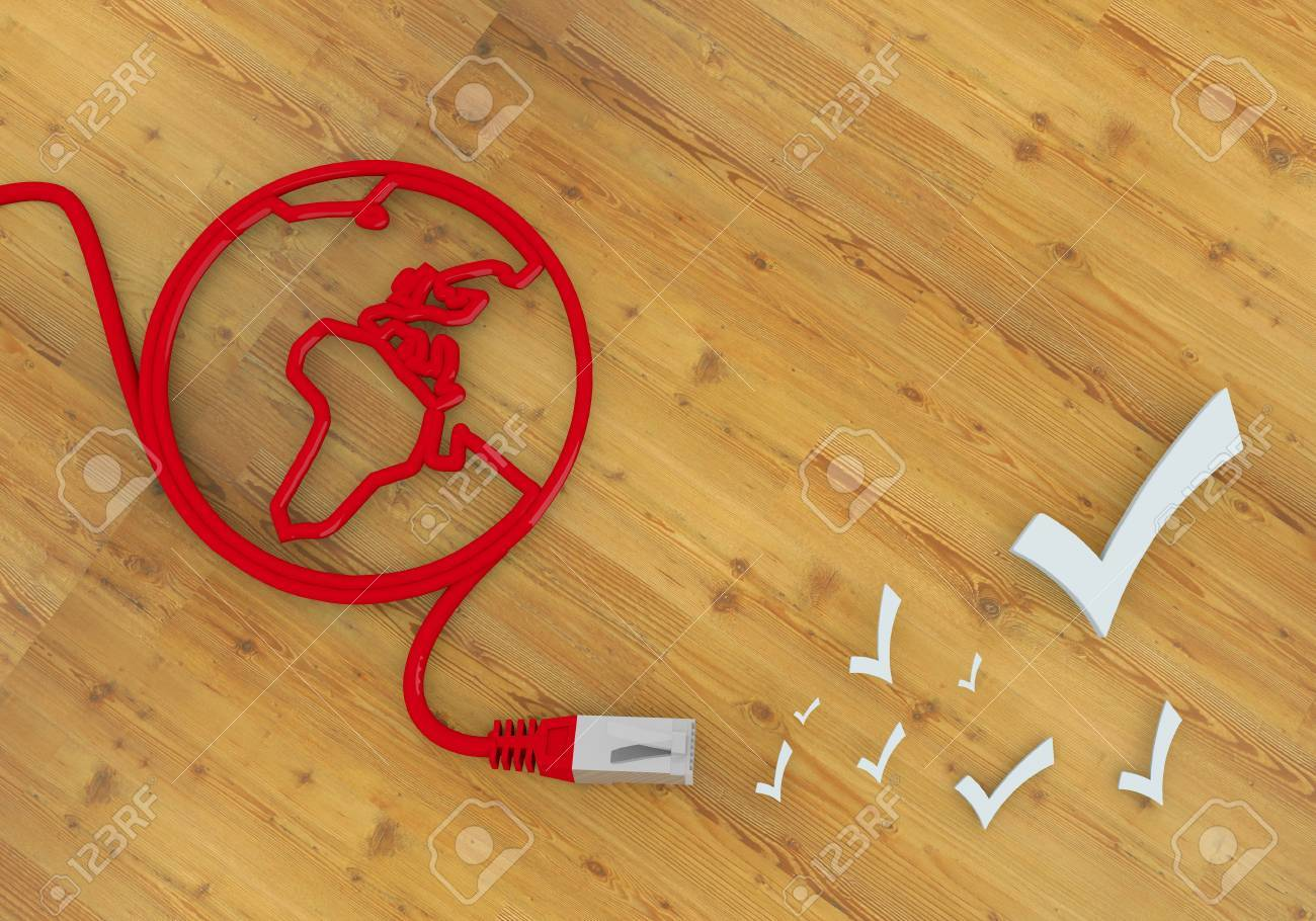 Red  completed network 3d graphic with well done check symbol on network to home office desk Stock Photo - 22590012