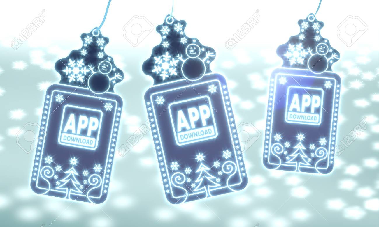 Three 3d Rendered Christmas Cards With App Download Sign On Ice ...