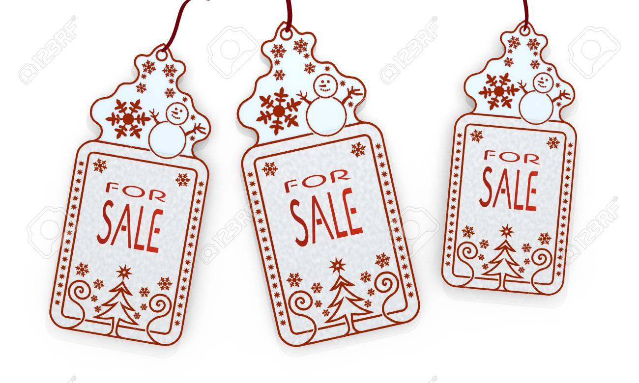 three 3d rendered shopping christmas cards with sale sticker isolated on white background Stock Photo - 23921802