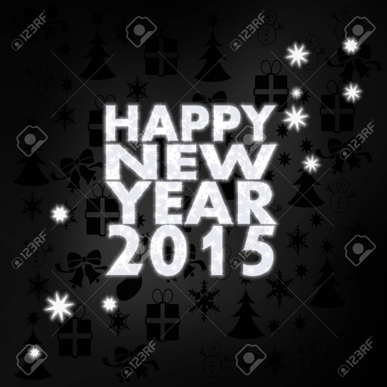 festive stylish happy new year label in black white with xmas icons in the background and