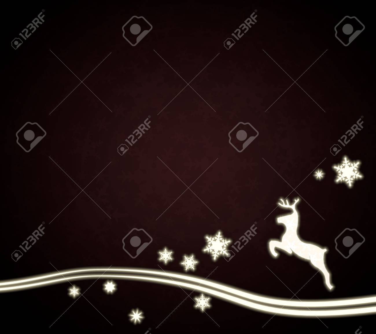Festive Noble Deer Template In Dark Red With Christmas Snowflakes