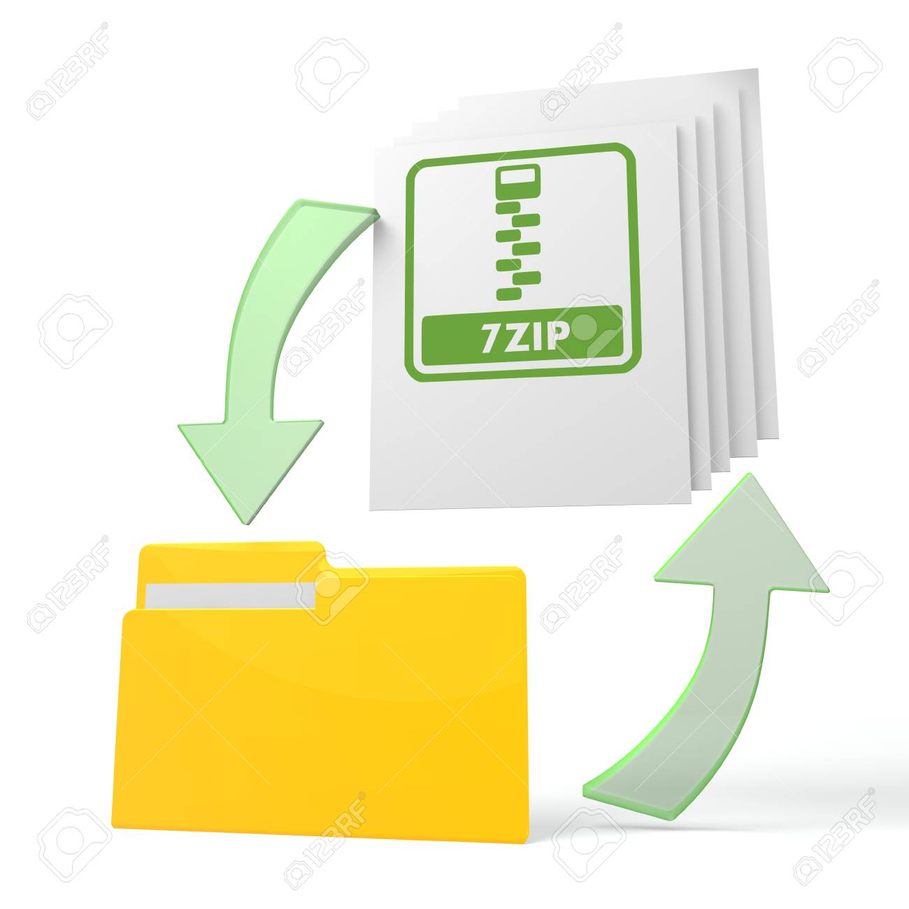 isolated 3d file folder with 7zip file symbol on documents with