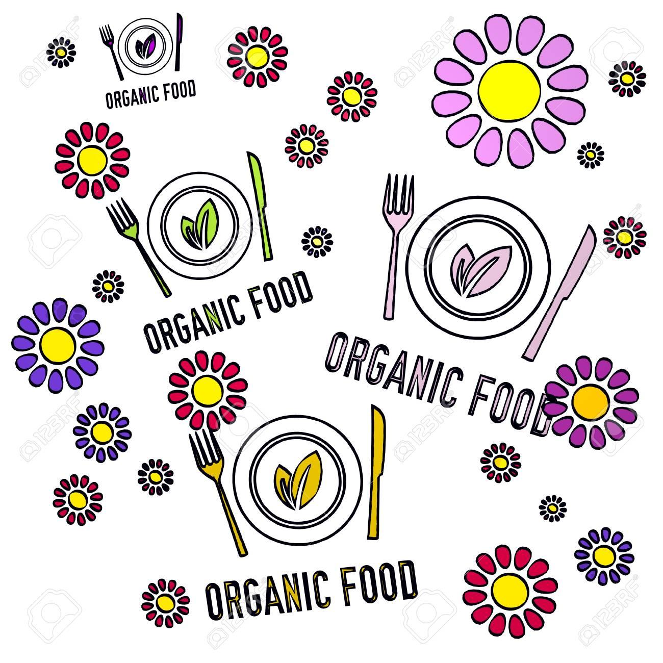 Croquis Dibujado Feliz Primavera Flor De La Mano De Cuatro Alimentos