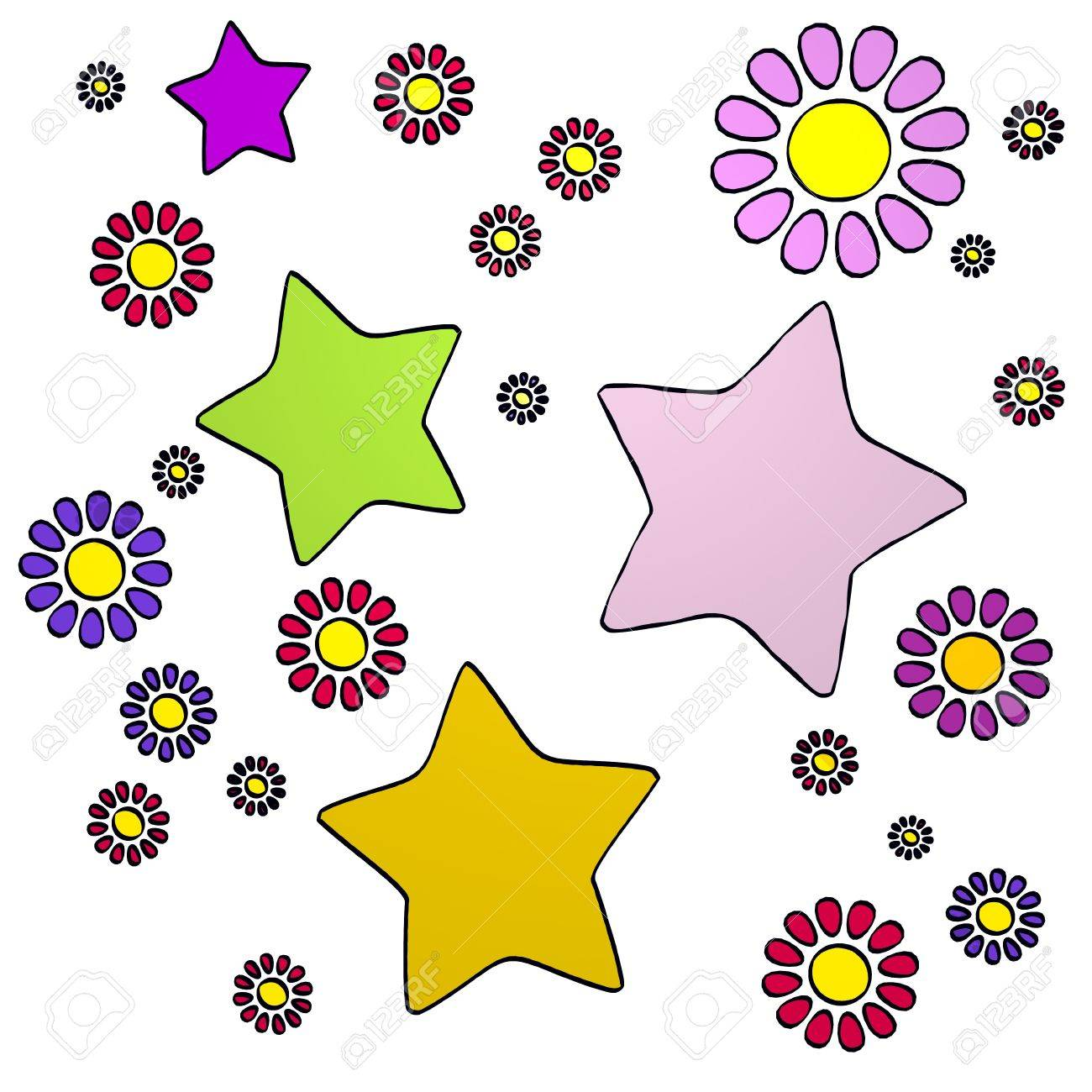 Cute spring flower - Stock Photo Happy Spring Flower Hand Drawn Sketch Of Four Star With Cute Flowers On White Background