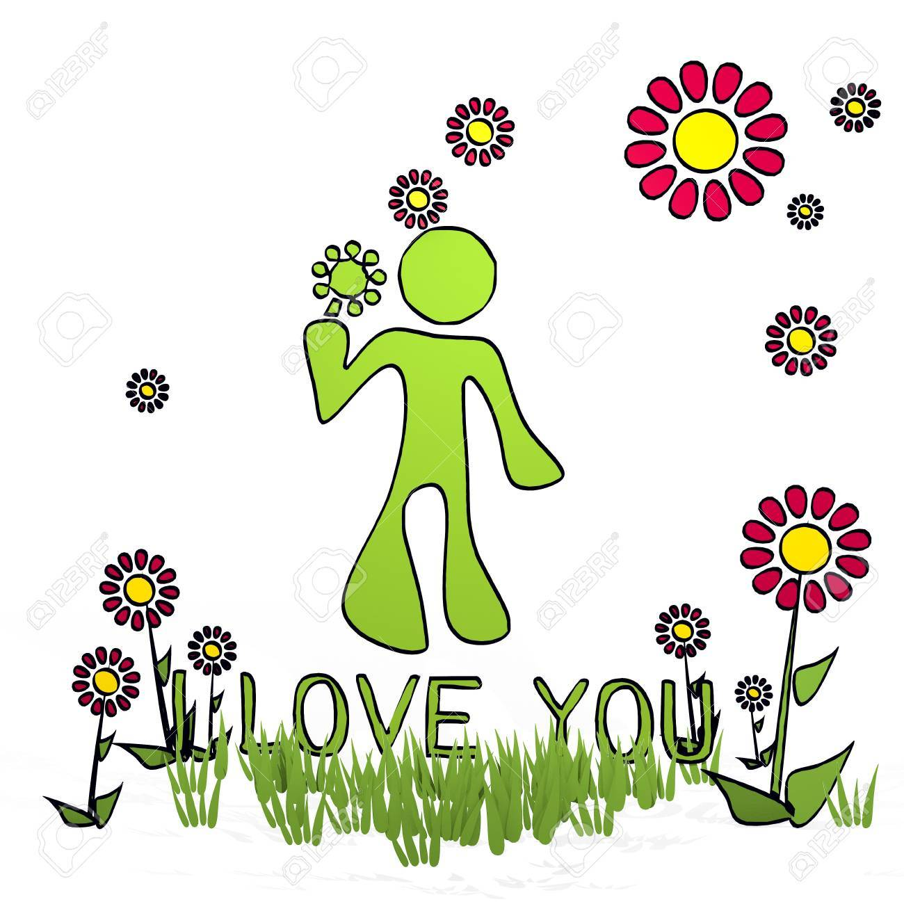 Spring Flower Hand Drawn Sketch Of I Love You With Childish Flowers On White Background Stock