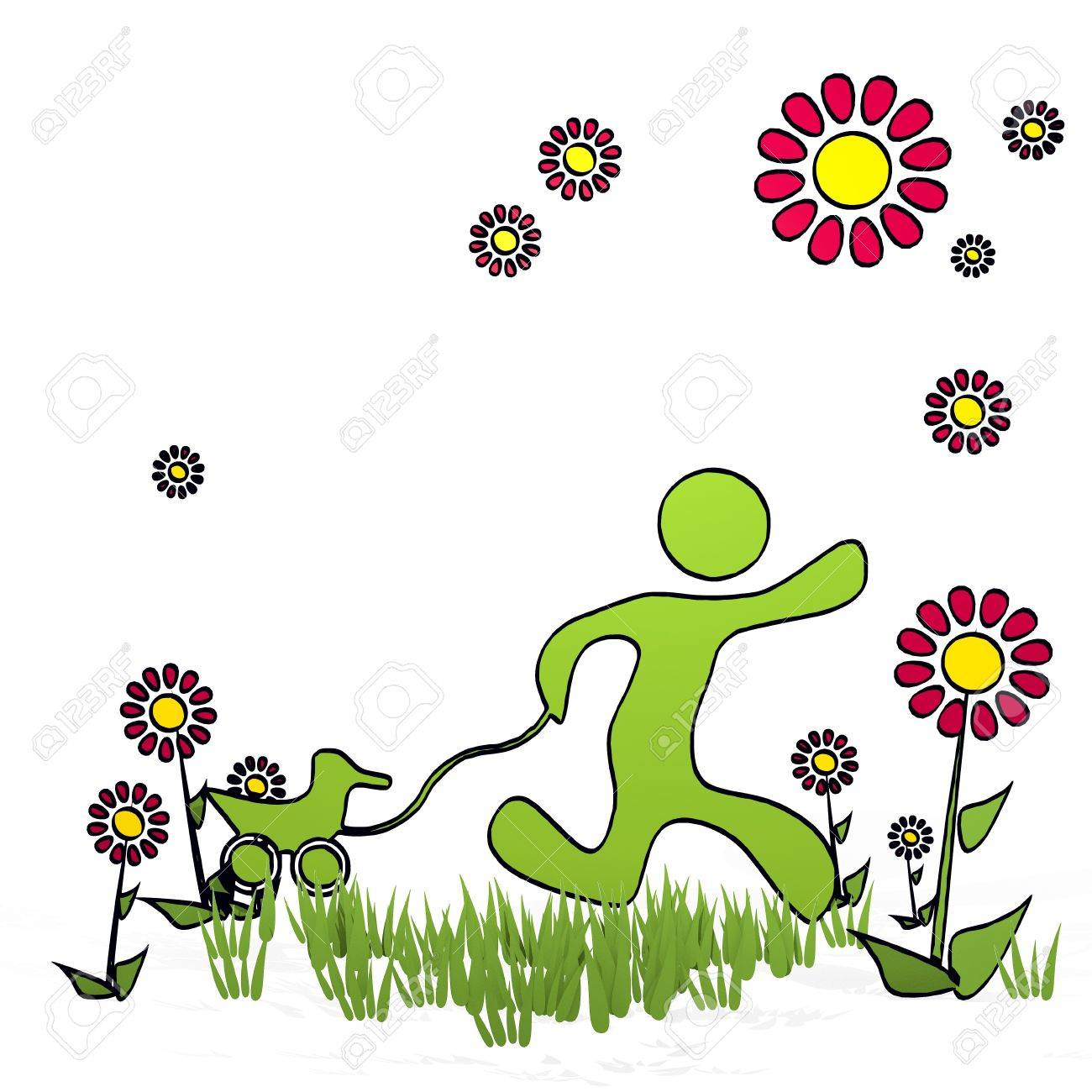 Cute spring flower - Stock Photo Spring Flower Hand Drawn Sketch Of Play With Cute Flowers On White Background