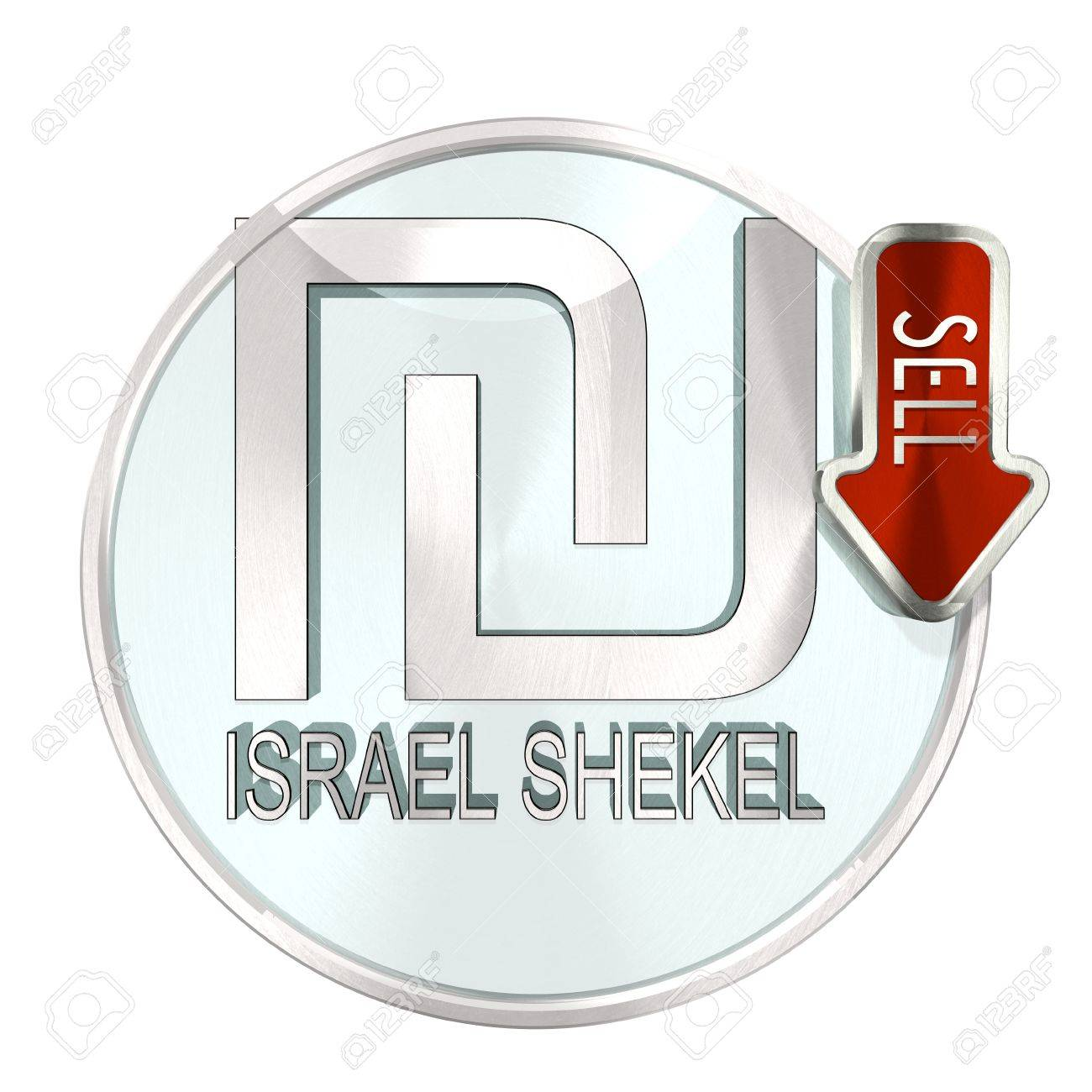 Round Stylish Israel Shekel Button With Currency Symbol And Down
