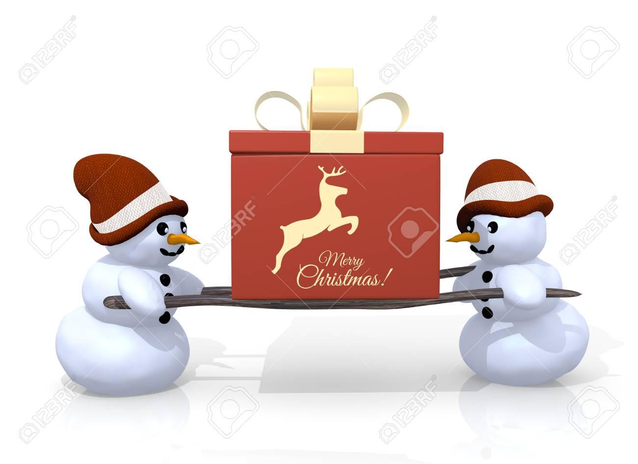 Buon Natale 3d.Immagini Stock Un 3d Regalo Reso Con Un Segno Di Buon Natale