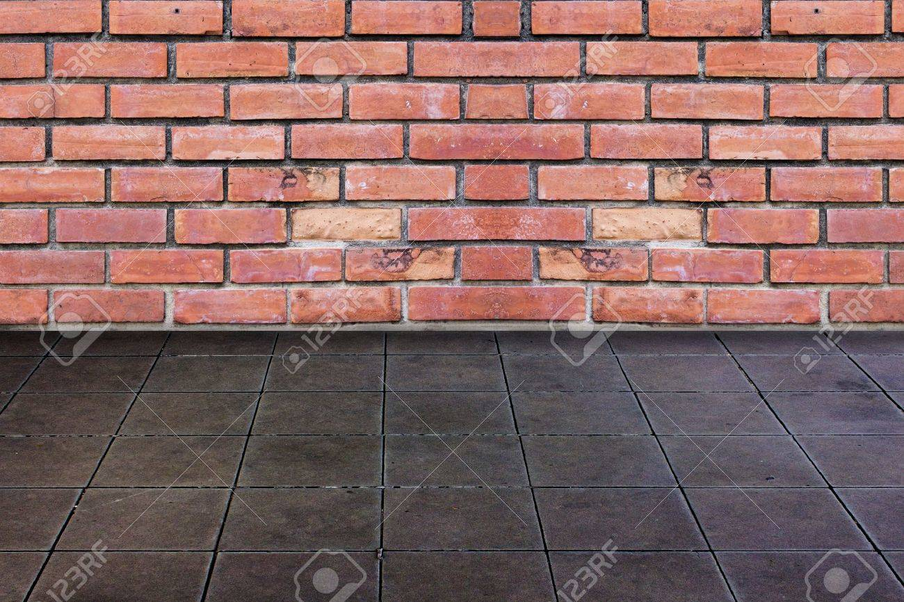 Brick wall and ceramic tiles floor stock photo picture and brick wall and ceramic tiles floor stock photo 13877992 dailygadgetfo Images