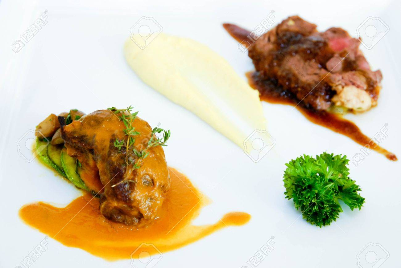 Combination beef steak with two sauce Stock Photo - 14872204