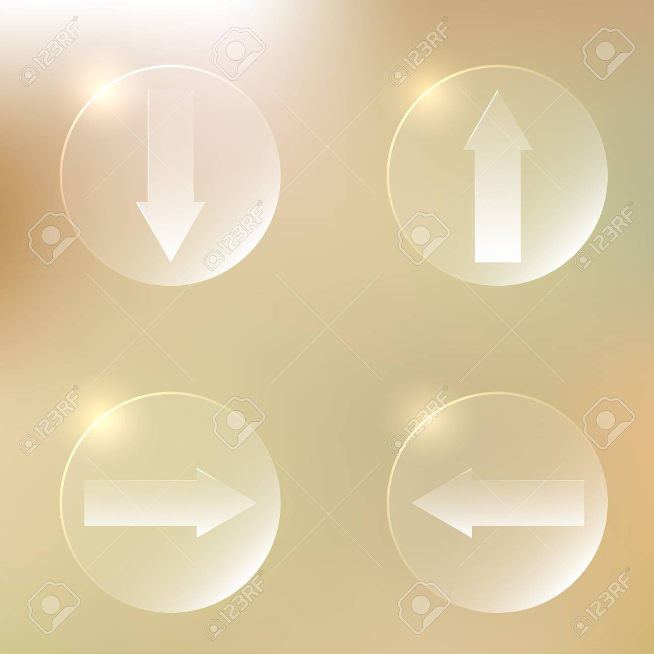 Set Of Glassy Arrows Icons | Upload, Download Web Button | Down,