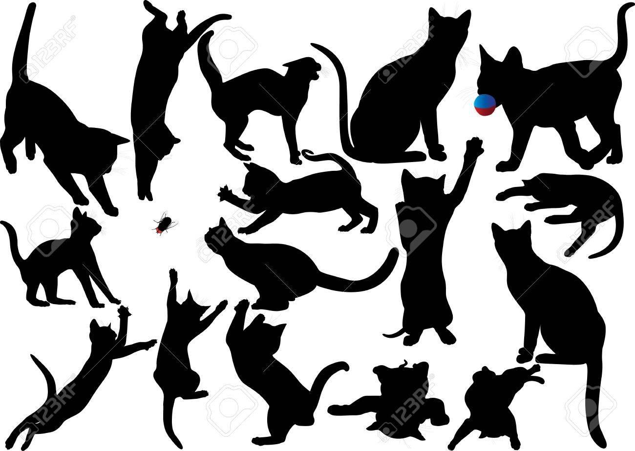 Gato y gatito silueta vector conjunto de Capas totalmente editables Foto de archivo - 16626358