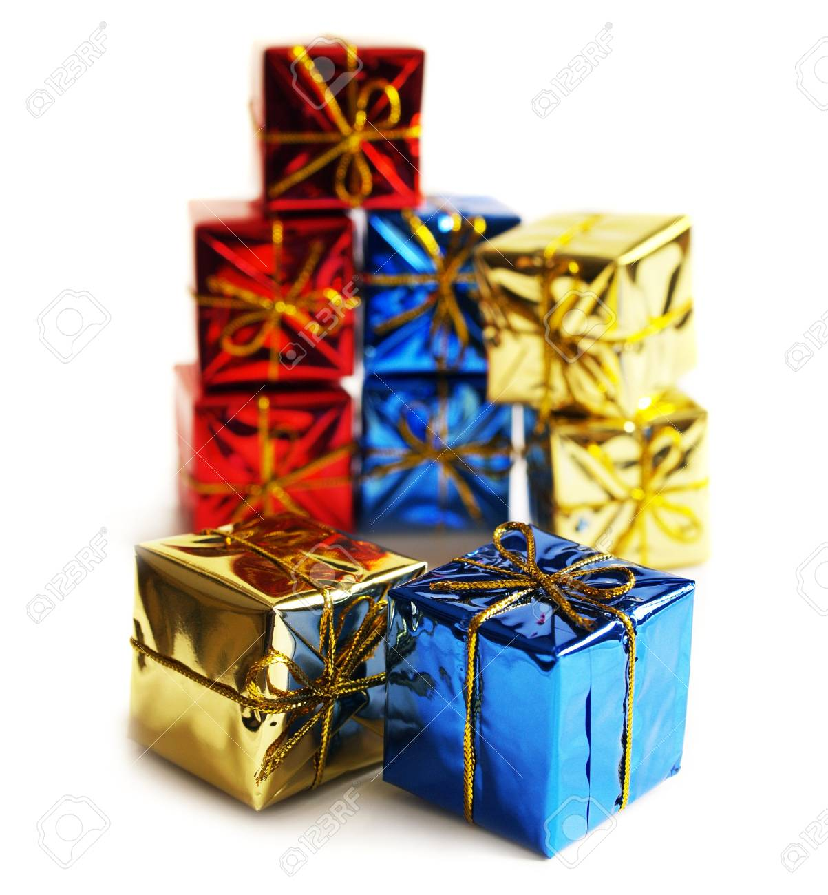 Many gifts in the boxes on a white background. Card design with presents. Stock Photo - 7378598