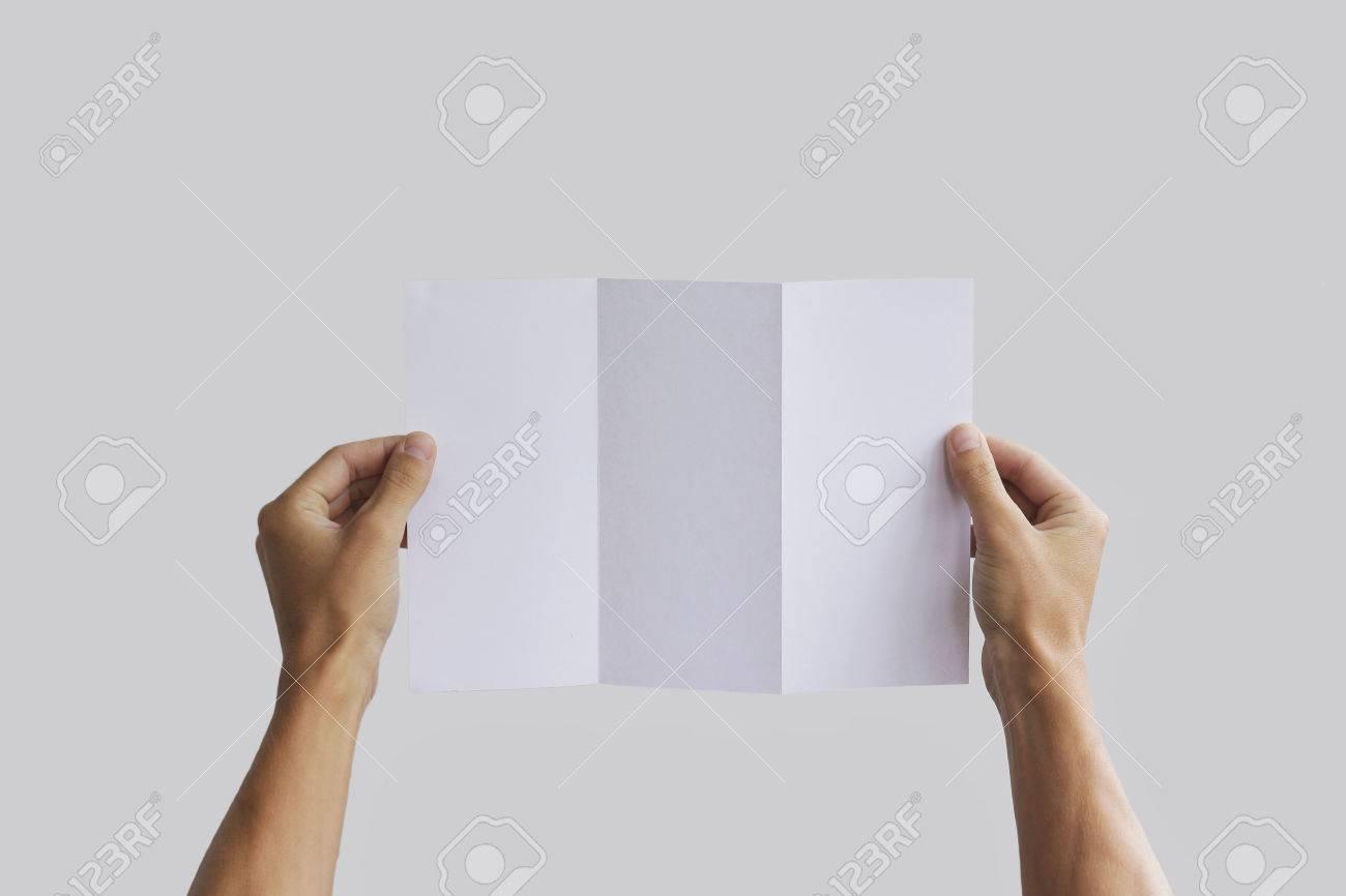 Hand Hält Leere Broschüre Broschüre In Der Hand. Leaflet ...