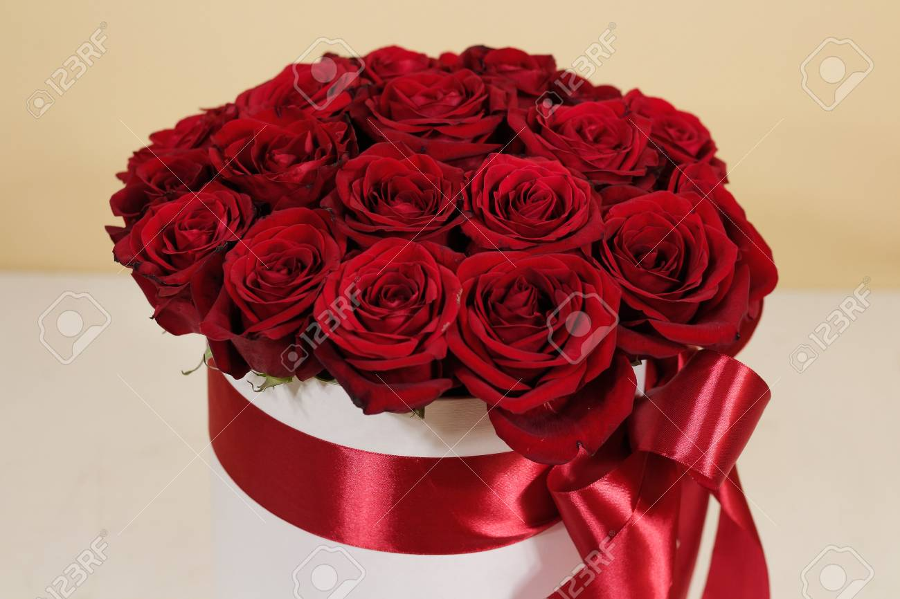 Rich Gift Bouquet Of 21 Red Roses Composition Of Flowers In Stock