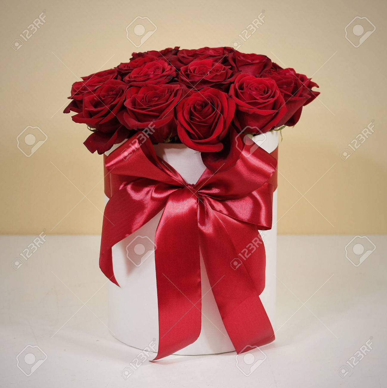 Rich Gift Bouquet Of 21 Red Roses. Composition Of Flowers In.. Stock ...