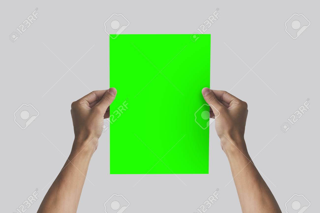 hands holding a4 paper in the hand leaflet presentation pamphlet