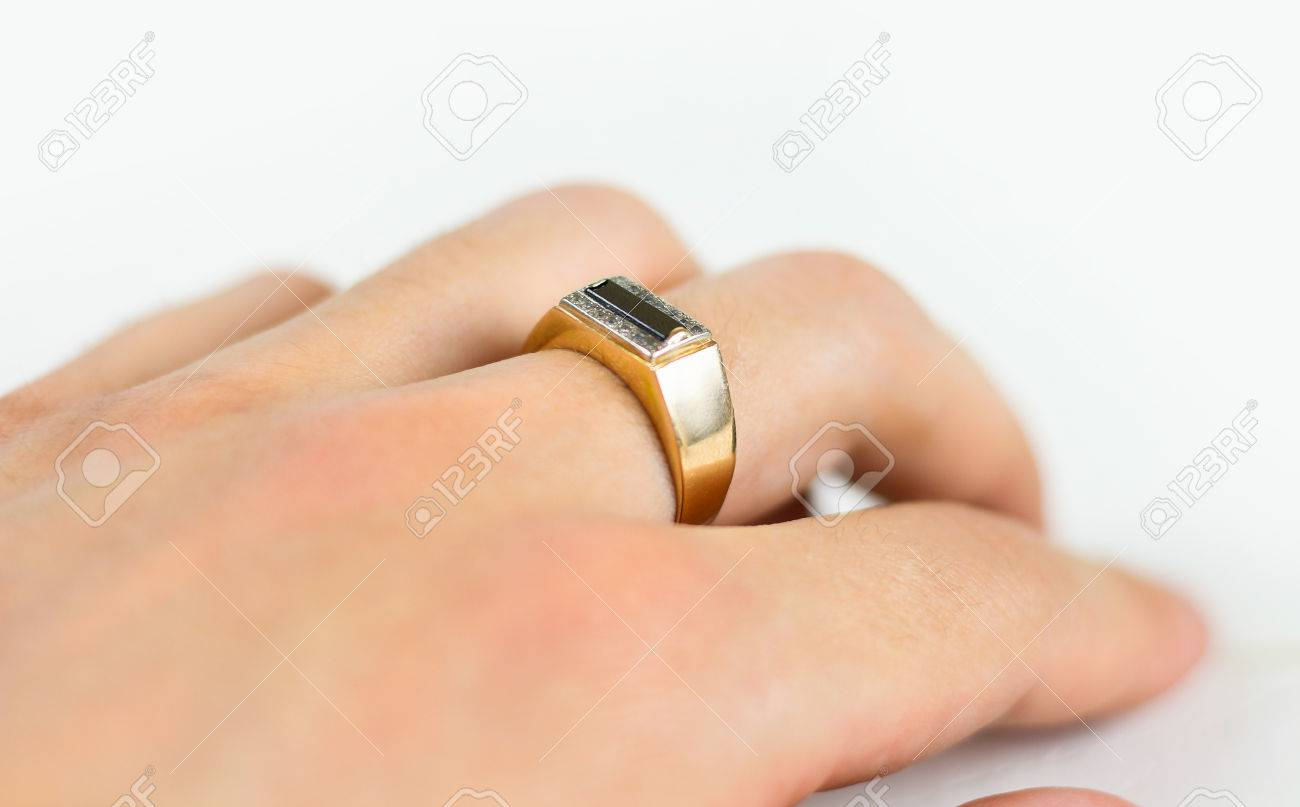 Men S Gold Ring With Diamonds On The Hand Stock Photo Picture And Royalty Free Image Image 77769654