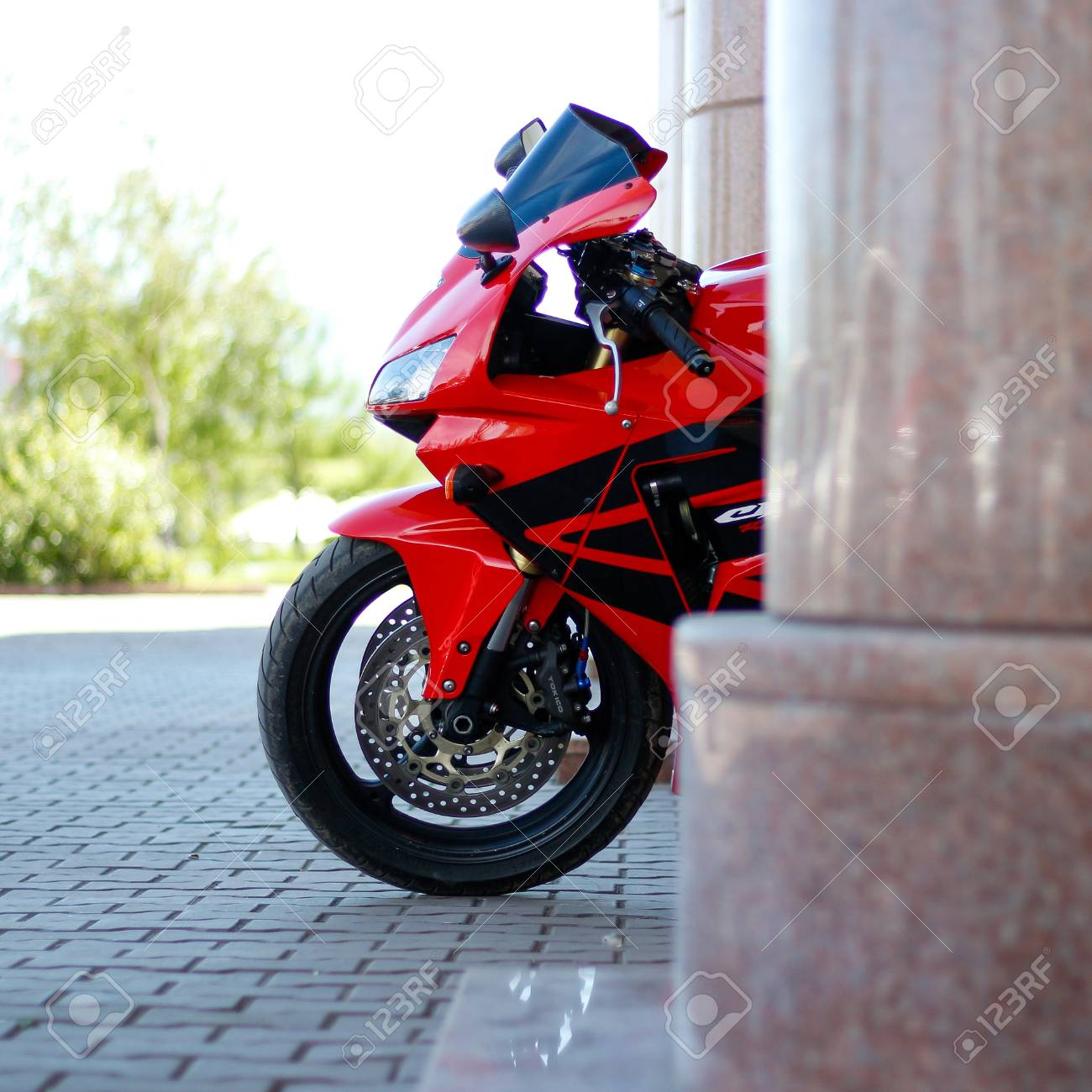 Krasnoyarsk Russia May 27 2017 Red And Black Sportbike Honda