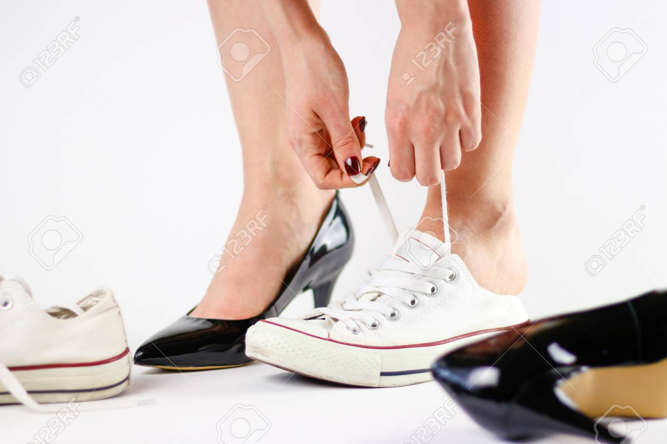 Girl Changing Shoes. Removes Black