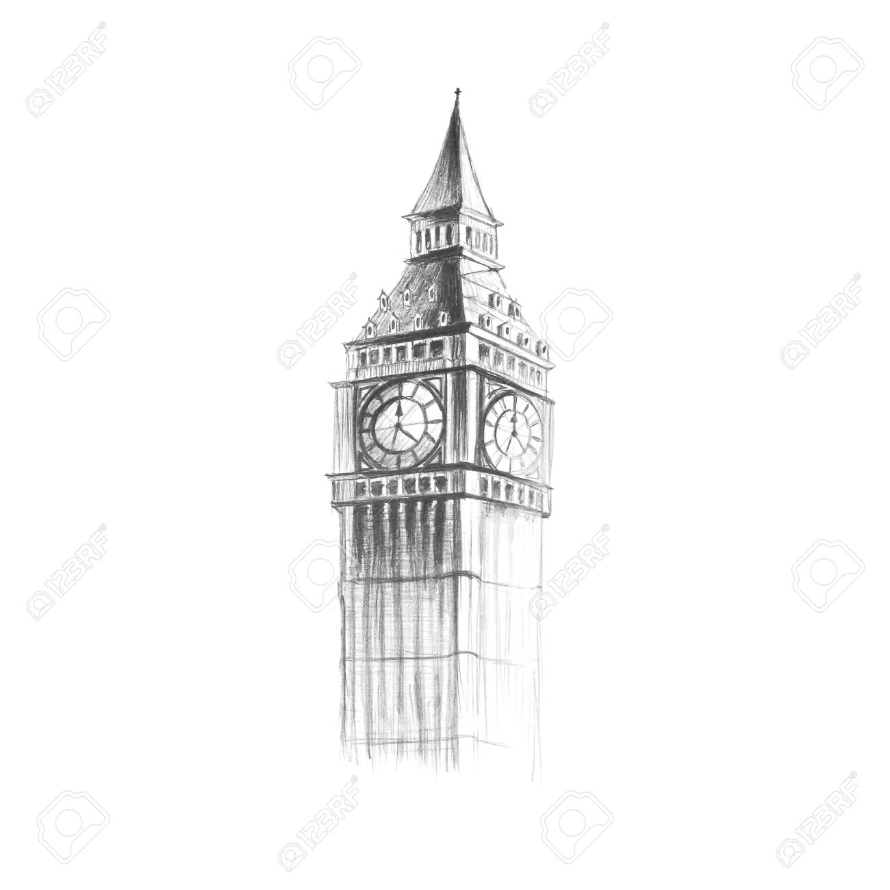 Big ben painted with a pencil hand drawn close up isolated