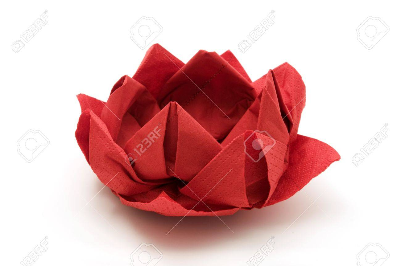 Red Lotus Origami On A White Background Stock Photo Picture And