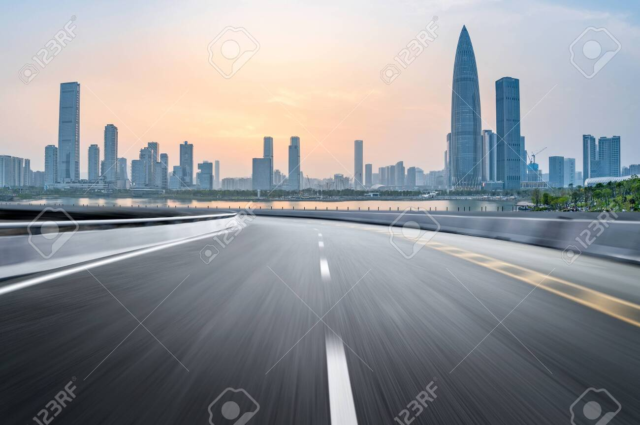 empty highway with cityscape and skyline of shenzhen,China. - 124540142