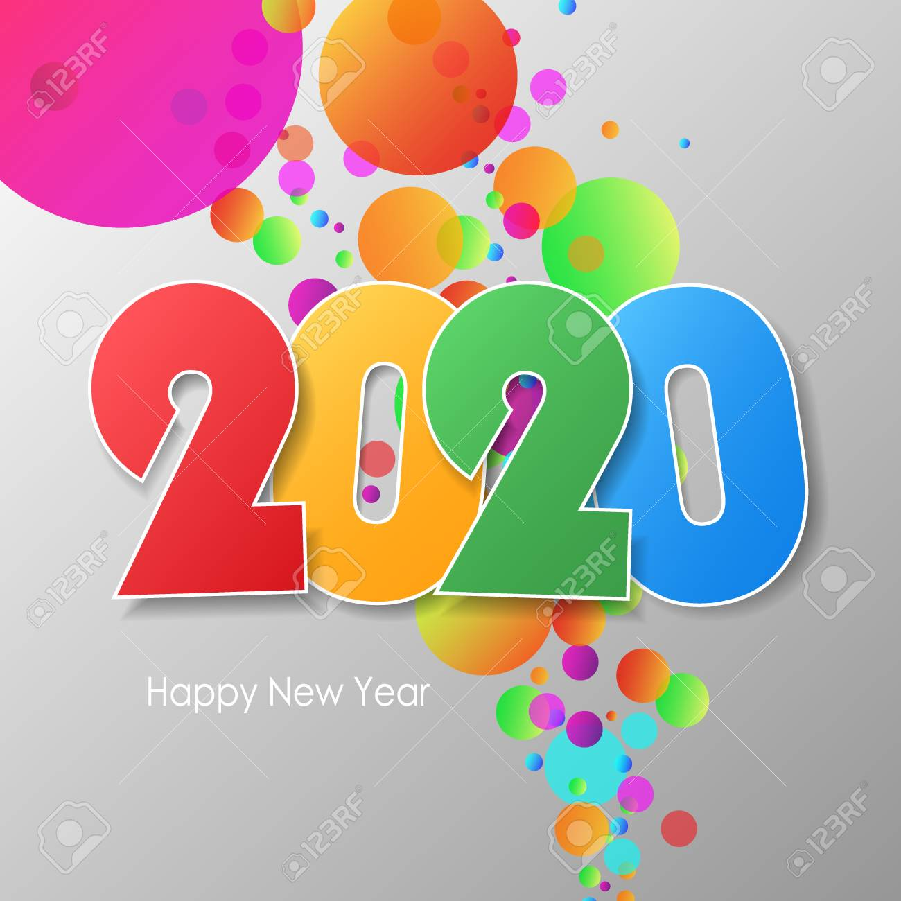 Simple Greeting Card Happy New Year 2020 Vector Illustration
