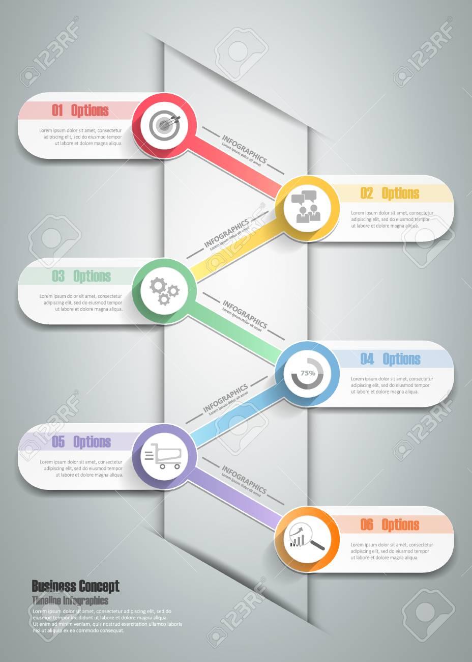 Design Template Infografik 6 Stufen. Kann Für Die Workflow-Layout ...