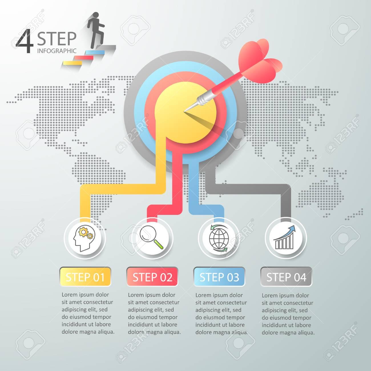 Options De Conception Infographie 4 Business Concept Infographique Peut être Utilisé Pour La Mise En Page De Flux De Travail Diagramme Options De