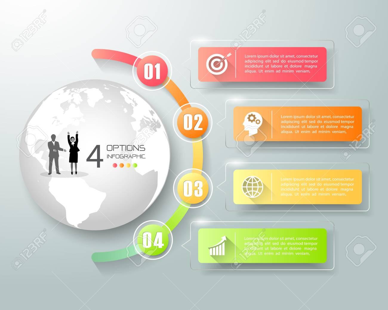 Diseño Plantilla Infografía 4 Opciones, Concepto De Negocio ...